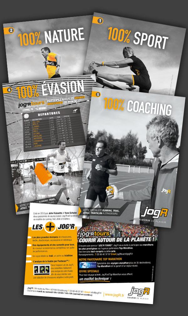 Conception et réalisation de multiples supports de communication pour l'enseigne de running Jog'R Strasbourg