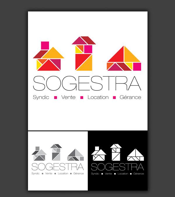 Logotype pour l'agence immobilière Sogestra à Strasbourg