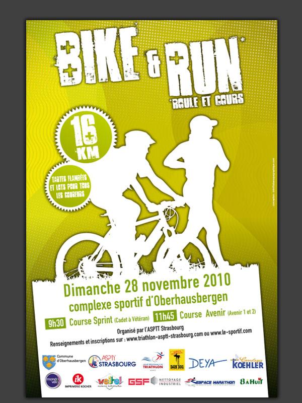 Identité visuelle pour le triathlon d'Obernai, l'Asptt Strasbourg et d'autres épreuves sportives de la région Alsace.